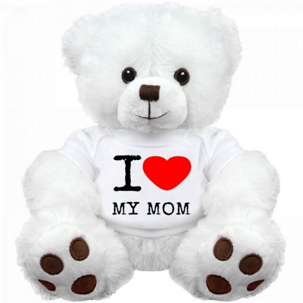 18 Inch White Teddy Bear wearing I Love My MOM Tshirt Plush Soft Toy
