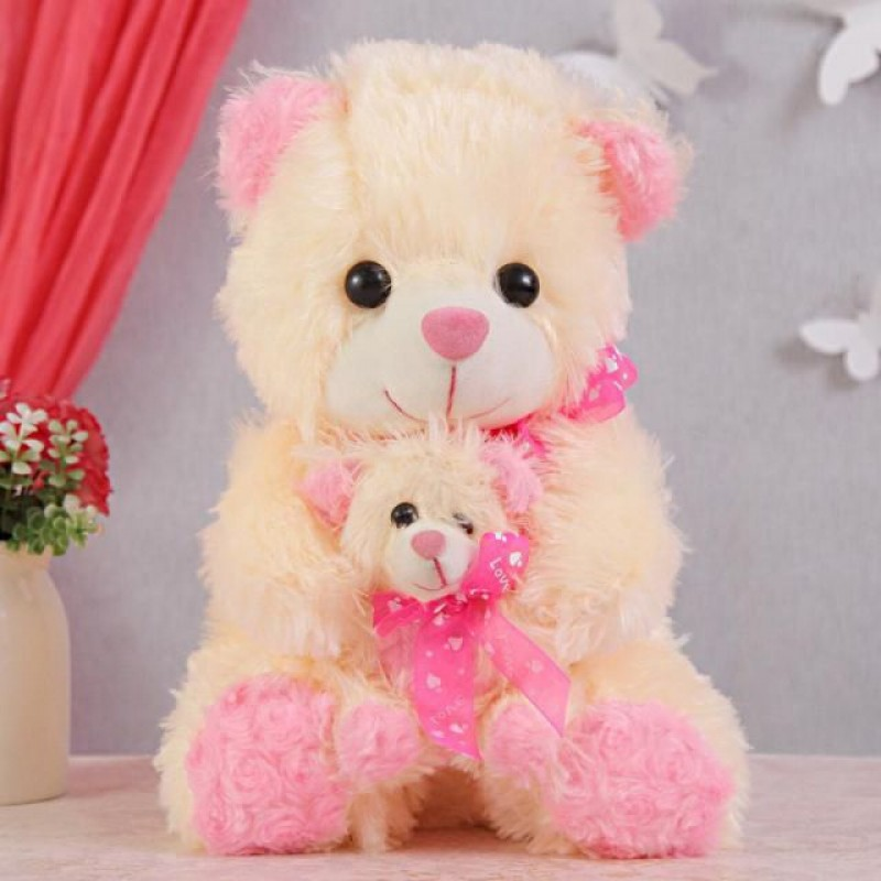 e4488d237fd Shop for 15 Inch Cream and Pink Mumma Baby Teddy Bear Plush Soft Toy Online  at Lowest Price in India