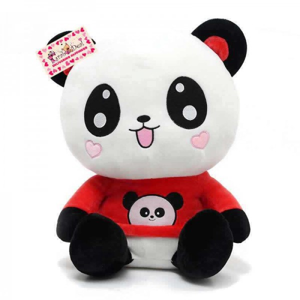 Cute 15 Inch Happy Panda wearing beautiful Red Baby Panda T-shirt