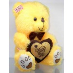 Yellow Puchi Teddy Bear with a Bow and I Love You Heart