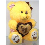 Yellow Puchi Girl Teddy Bear with a Bow and I Love You Heart