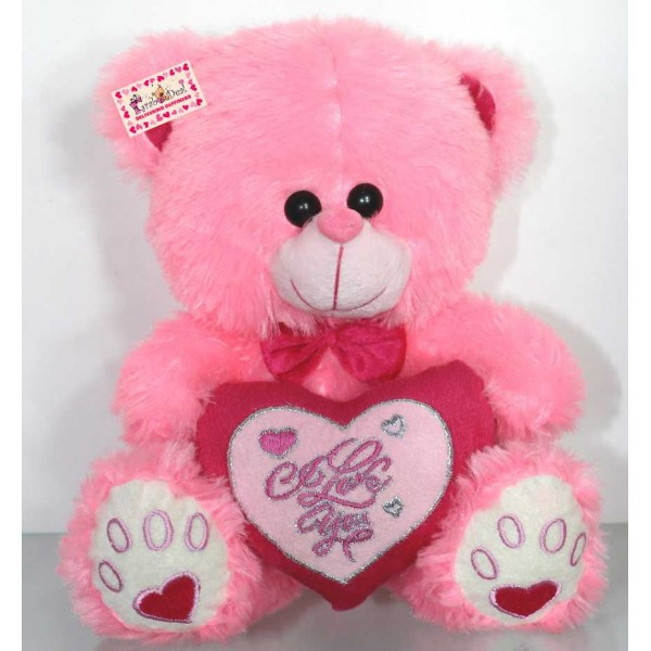 Pink Puchi Teddy Bear with a Bow and I Love You Heart
