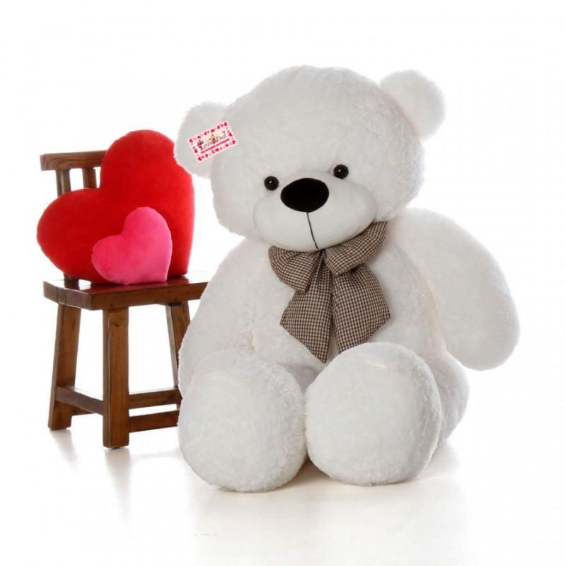 buy lifesize 6 feet white bow teddy bear soft toy 180 cm online at