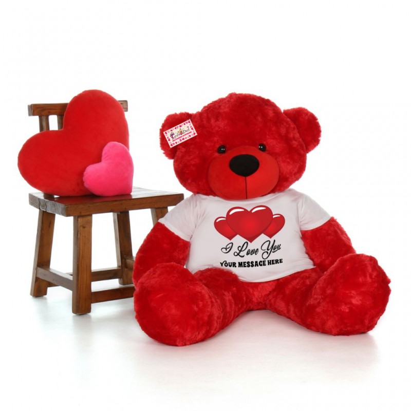 Red Teddy Bear 5 Feet, Giant 5 Feet Personalized Teddy Bear Wearing Customizable I Love You Tshirt Available In 7 Colors Online At Lowest Price In India Grabadeal