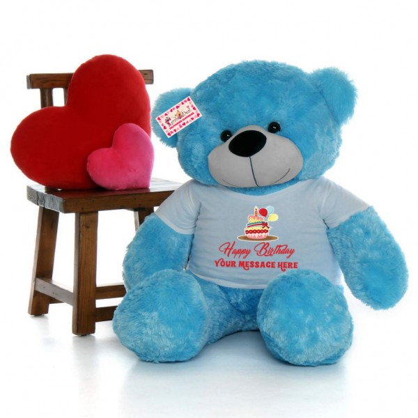 Big 5 Feet Personalized Teddy Bear wearing Customizable Happy Birthday Tshirt - Available in 7 Colors