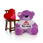 Giant 5 Feet Personalized Teddy Bear wearing I Love You This Much Tshirt - Choose From 7 Colors