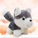Cute Stuffed Grey Husky Dog Plush Animal Soft Toy
