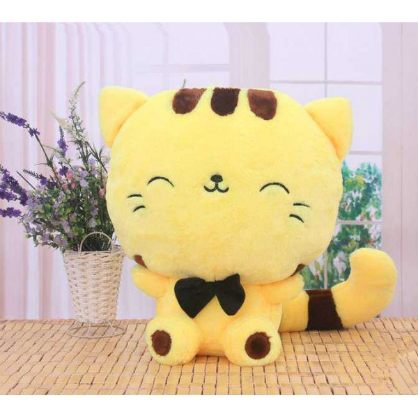Cute 15 Inch Yellow and Brown Kitty Cat Soft Toy