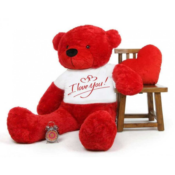 Red 5 feet Big Teddy Bear wearing a I Love You T-shirt