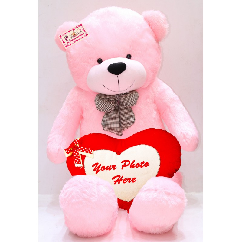 50791e321 Buy 5 Feet Long Pink Teddy Bear Soft Toy with Personalized Photo Heart  Online at Lowest Price in India