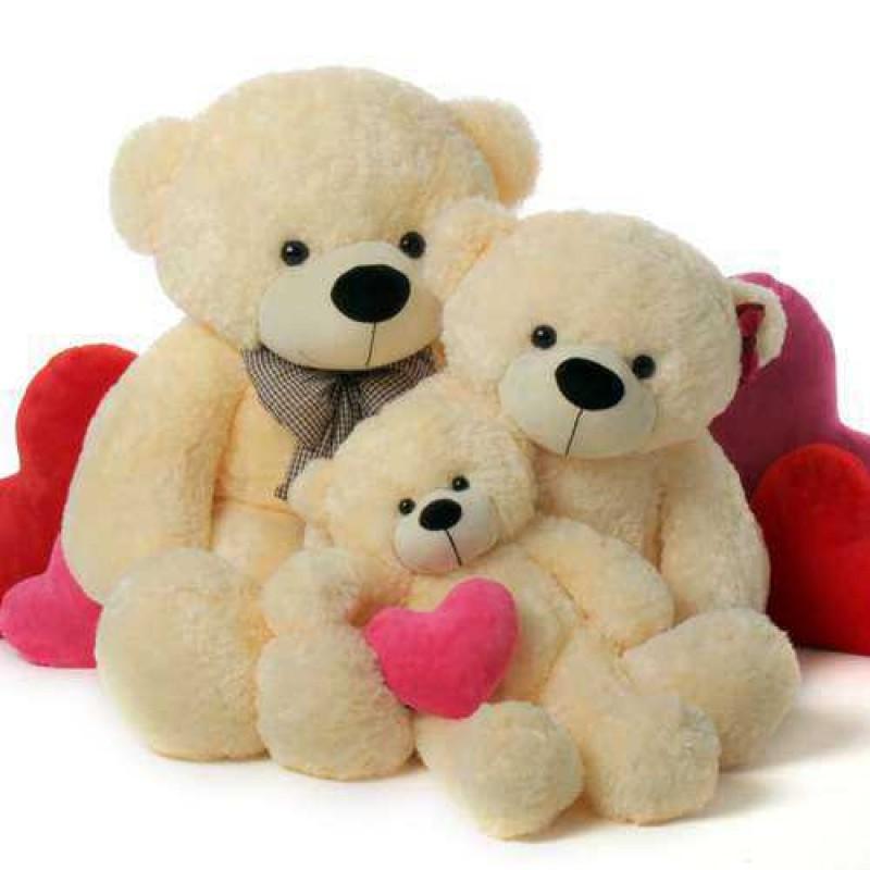 Buy 2 feet 35 feet and 5 feet peach bow teddy bear family online 2 feet 35 feet and 5 feet peach bow teddy bear family voltagebd Image collections