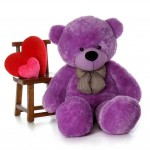 5 Feet Purple Teddy Bear with a Bow