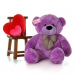 4 Feet Purple Big Teddy Bear with a Bow