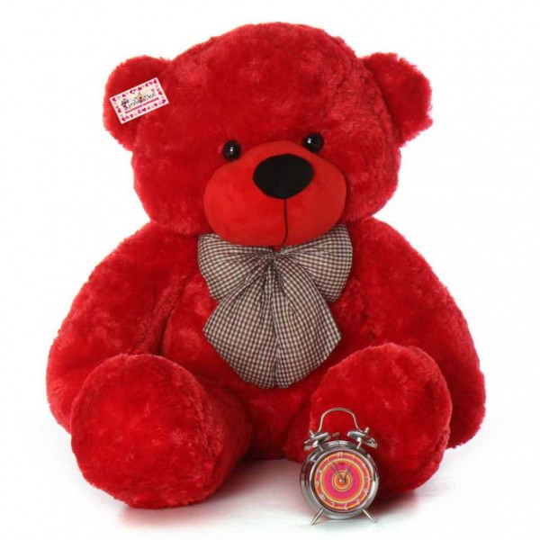 buy 4 feet red big teddy bear with a bow online at lowest price in india grabadeal. Black Bedroom Furniture Sets. Home Design Ideas