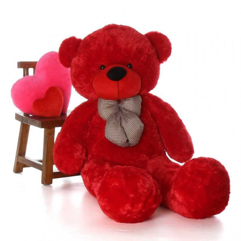 Red Teddy Bear 5 Feet, Buy 5 Feet Red Teddy Bear With A Bow Online At Lowest Price In India Grabadeal