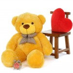 4 Feet Yellow Big Teddy Bear with a Bow