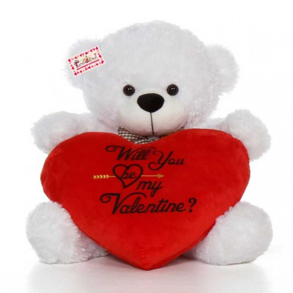 2.5 Feet White Big Bow Teddy Bear holding Will You Be My Valentine heart