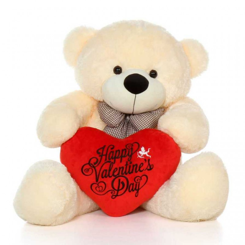 c5552449ef Buy 4 Feet Peach Big Bow Teddy Bear holding Happy Valentines Day heart  Online at Lowest Price in India | GRABADEAL