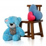2.5 Feet Huge Blue Teddy Bear with a Bow