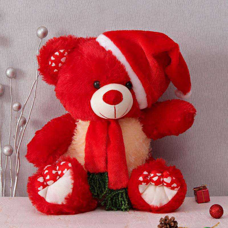 Buy Red 15 Inch Christmas Teddy Bear With Cap And Muffler