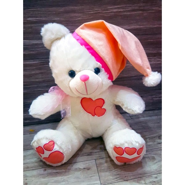 Grabadeal White 16 Inch Christmas Teddy Bear with Pink Cap