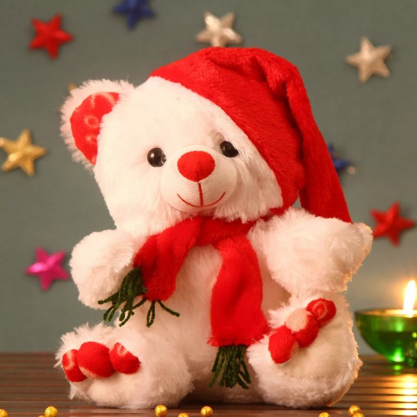 White 13 Inch Christmas Teddy Bear with cap and muffler