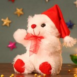 White 12 Inch Christmas Willy Teddy Bear with santa cap
