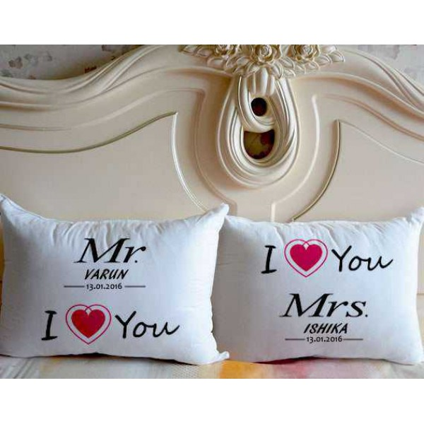 Mr I Love You and I Love You Mrs Personalized Couple Pillows