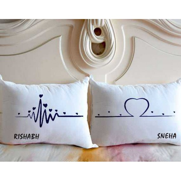 Heartbeat to Heart Personalized Name Couple Pillows