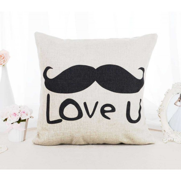 Love U Moustache and Me Too Lips Couple Cushion