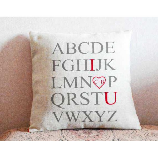 Alphabets I Love You Personalized Cushion