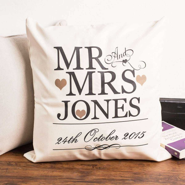 Mr and Mrs Personalized Surname with Date of Marriage Single Cushion