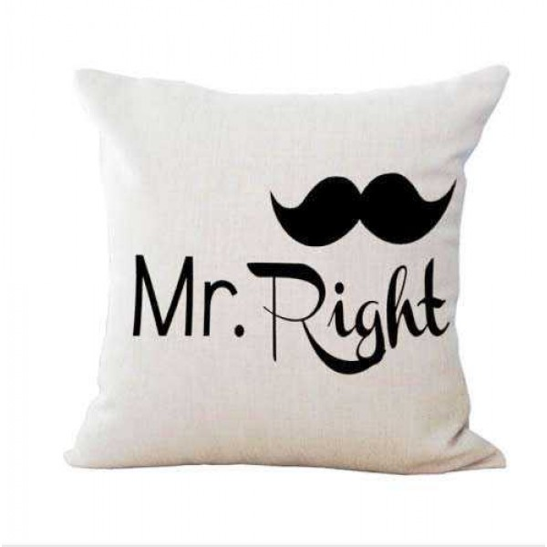 Mr Right Moustache and Mrs Always Right High Heels Couple Cushions
