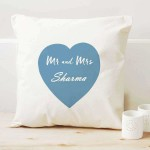 Mr and Mrs Personalized Surname inside Heart Single Cushion