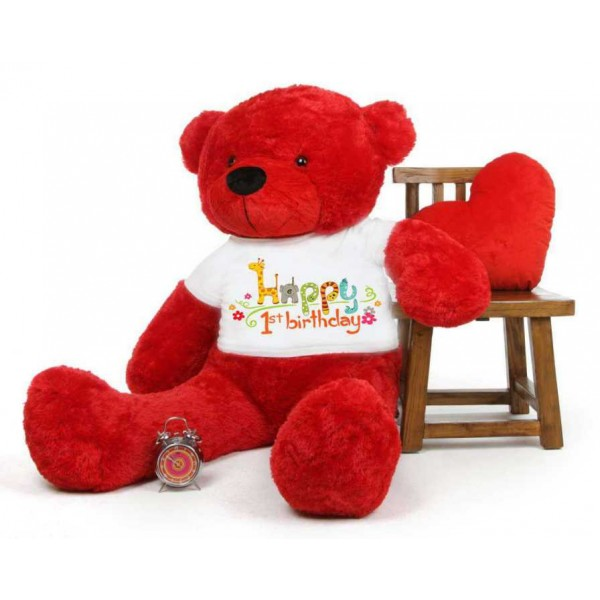 Red 5 feet Big Teddy Bear wearing a First Happy Birthday T-shirt
