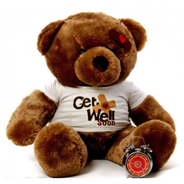 2 feet big brown teddy bear wearing a Get Well Soon T-shirt