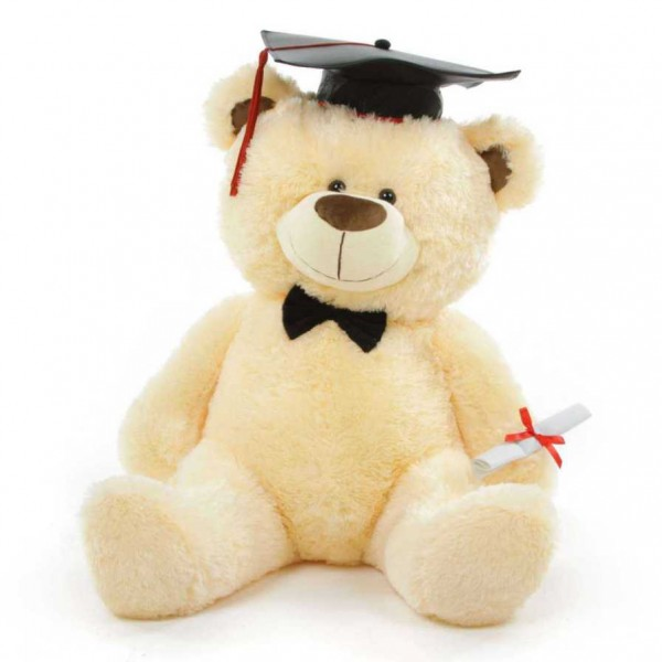 Peach 3.5 Feet Big Teddy Bear with a Graduation Cap and a Scroll