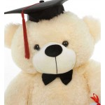 Peach 3 Feet Big Teddy Bear with a Graduation Cap and a Scroll