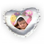White Heart Frill Cushion With Personalized Photo