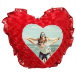 Red Heart Love Frill Rose Fur Cushion With Personalized Photo