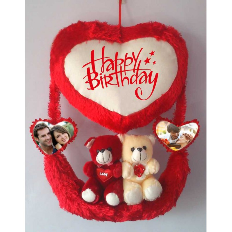 c3e3bcae Personalized Red Couple Teddy Bear Hanging Heart Jhoola