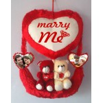 Personalized Red Couple Teddy Bear Hanging Heart Jhoola