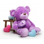 Purple 5 Feet Big Teddy Bear with a heart