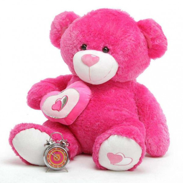 Dark Pink 3.5 Feet Big Teddy Bear with a heart