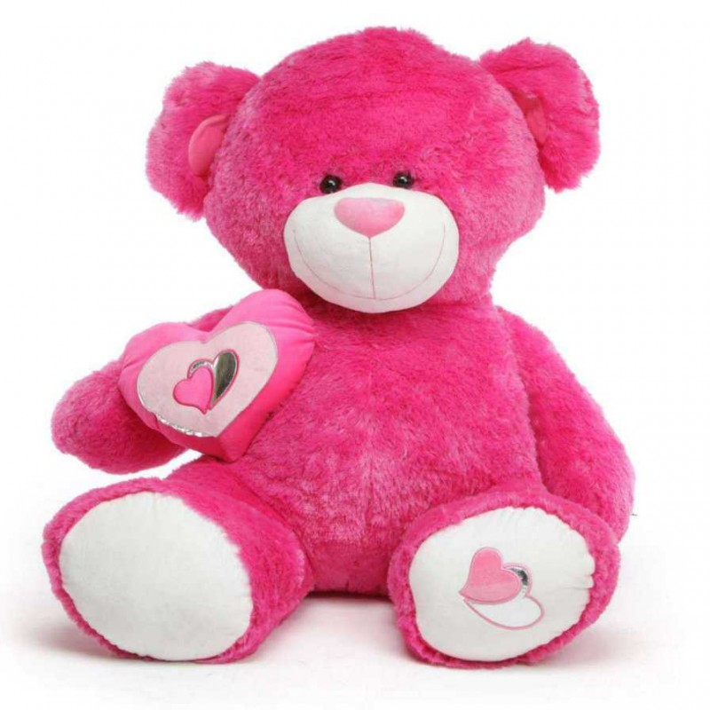 Red Teddy Bear 5 Feet, Buy Dark Pink 5 Feet Big Teddy Bear With A Heart Online At Lowest Price In India Grabadeal