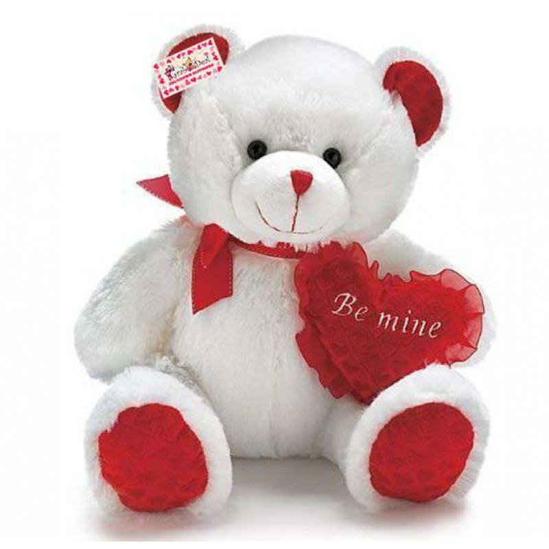 buy cute 15 inch white teddy bear holding red be mine