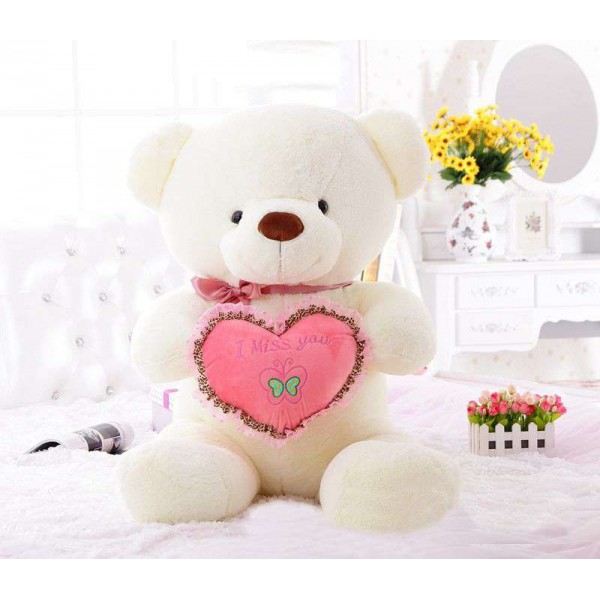 3 Feet White Teddy Bear holding I Miss You Heart