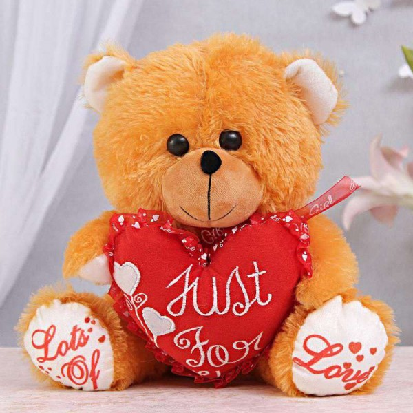15 Inch Golden Teddy Bear holding Just For You Heart