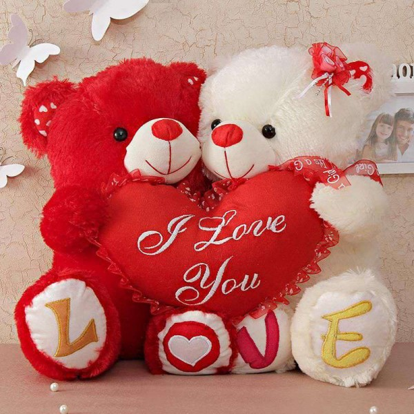 Love Quotes With Teddy Bear Images: Buy Cute Couple Love Teddy Bears Holding I Love You Heart