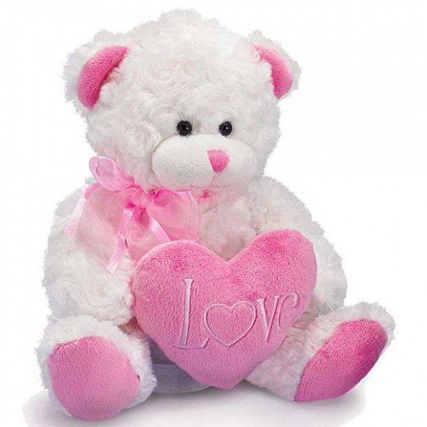 Cute 15 Inch White Teddy Bear holding pink LOVE Heart